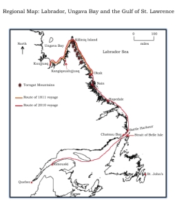 Map of the voyage of 1811 around the Labrador Peninsula